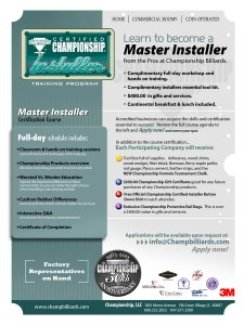 Master Installer ad Pool and Billiard 50th