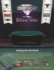 Championship Billiards Fabrics Card